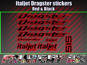 Italjet Dragster Decals Stickers RED & BLACK 9 piece set 50 70 125 172 180 Drag